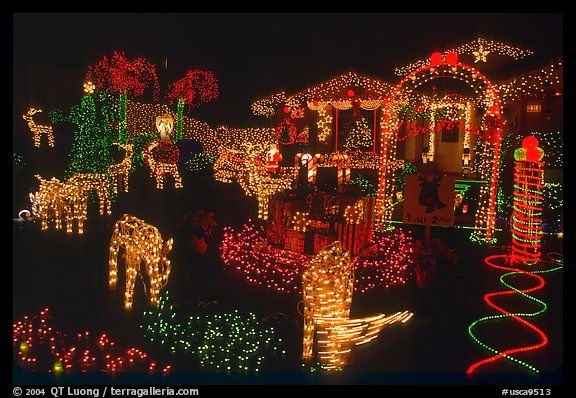 House Christmas Lights. San Jose, California, USA